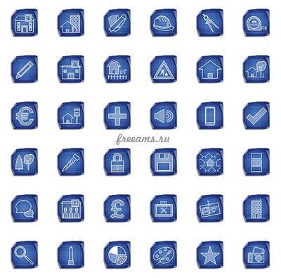 Коллекция иконок для сайта - строительство и архитектура (90шт. PNG)