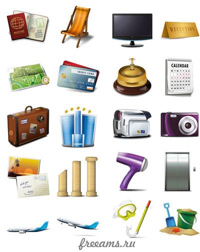 Коллекция иконок для сайта — туризм и путешествия (30шт. PNG) #1