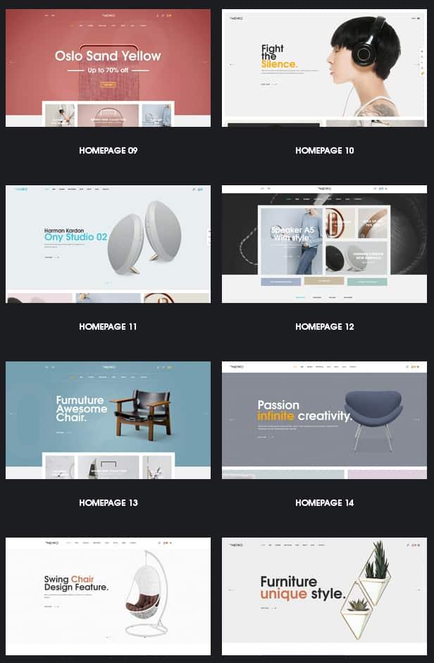 Более 16 предустановленных шаблона для разного рода продукции магазина